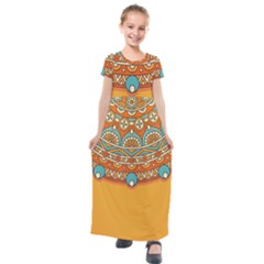 Sunshine Mandala Kids  Short Sleeve Maxi Dress