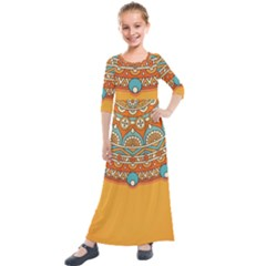 Sunshine Mandala Kids  Quarter Sleeve Maxi Dress
