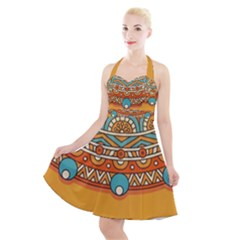 Sunshine Mandala Halter Party Swing Dress