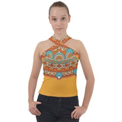 Sunshine Mandala Cross Neck Velour Top