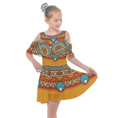 Sunshine Mandala Kids  Shoulder Cutout Chiffon Dress