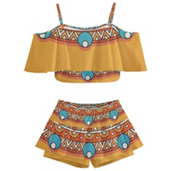 Sunshine Mandala Kids  Off Shoulder Skirt Bikini