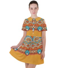 Sunshine Mandala Short Sleeve Shoulder Cut Out Dress