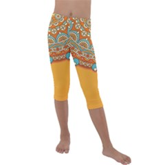 Sunshine Mandala Kids  Lightweight Velour Capri Leggings