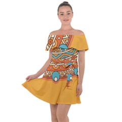 Sunshine Mandala Off Shoulder Velour Dress