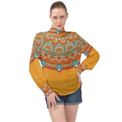 Sunshine Mandala High Neck Long Sleeve Chiffon Top