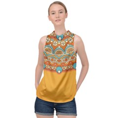 Sunshine Mandala High Neck Satin Top