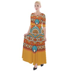 Sunshine Mandala Half Sleeves Maxi Dress