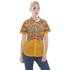 Sunshine Mandala Women s Short Sleeve Pocket Shirt