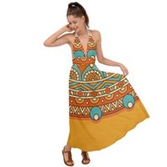 Sunshine Mandala Backless Maxi Beach Dress