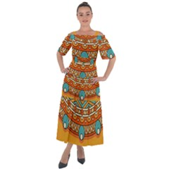Sunshine Mandala Shoulder Straps Boho Maxi Dress