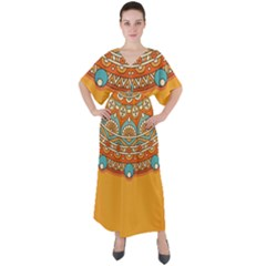 Sunshine Mandala V-neck Boho Style Maxi Dress
