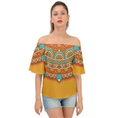 Sunshine Mandala Off Shoulder Short Sleeve Top