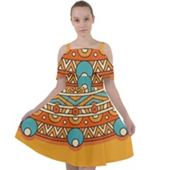 Sunshine Mandala Cut Out Shoulders Chiffon Dress