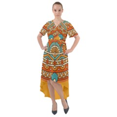 Sunshine Mandala Front Wrap High Low Dress