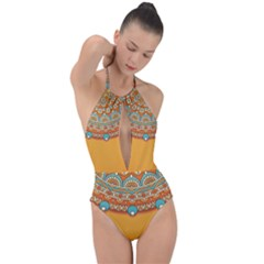 Sunshine Mandala Plunge Cut Halter Swimsuit