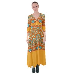 Sunshine Mandala Button Up Maxi Dress