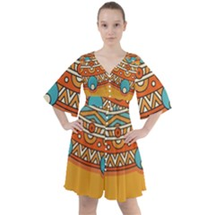 Sunshine Mandala Boho Button Up Dress
