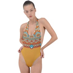 Sunshine Mandala Backless Halter One Piece Swimsuit