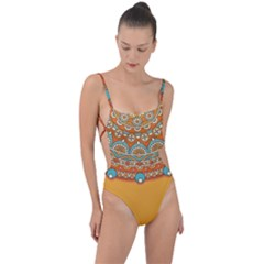 Sunshine Mandala Tie Strap One Piece Swimsuit