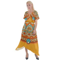 Sunshine Mandala Cross Front Sharkbite Hem Maxi Dress