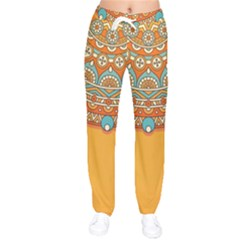 Sunshine Mandala Women Velvet Drawstring Pants