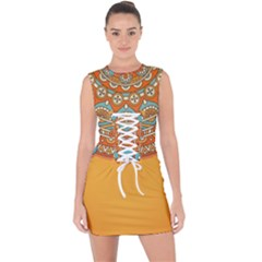 Sunshine Mandala Lace Up Front Bodycon Dress