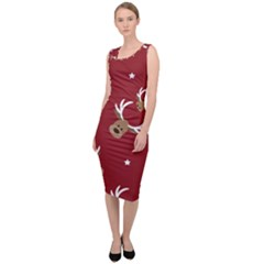 Cute Reindeer Head With Star Red Background Sleeveless Pencil Dress