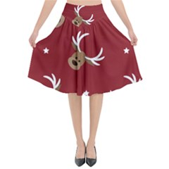 Cute Reindeer Head With Star Red Background Flared Midi Skirt