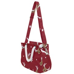 Cute Reindeer Head With Star Red Background Rope Handles Shoulder Strap Bag