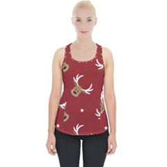 Cute Reindeer Head With Star Red Background Piece Up Tank Top