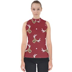 Cute Reindeer Head With Star Red Background Mock Neck Shell Top