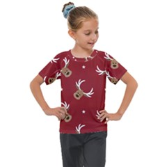 Cute Reindeer Head With Star Red Background Kids  Mesh Piece Tee
