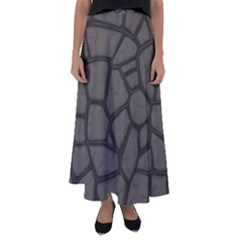 Cartoon Gray Stone Seamless Background Texture Pattern Flared Maxi Skirt