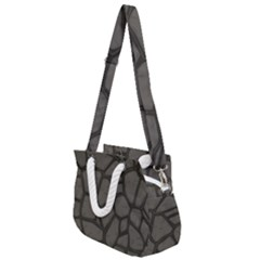 Cartoon Gray Stone Seamless Background Texture Pattern Rope Handles Shoulder Strap Bag