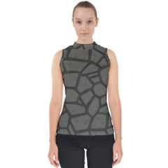Cartoon Gray Stone Seamless Background Texture Pattern Mock Neck Shell Top