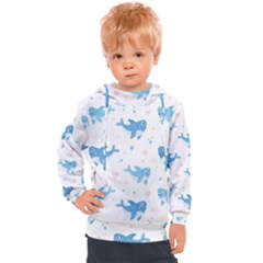 Seamless Pattern With Cute Sharks Hearts Kids  Hooded Pullover