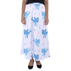 Seamless Pattern With Cute Sharks Hearts Flared Maxi Skirt