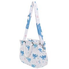 Seamless Pattern With Cute Sharks Hearts Rope Handles Shoulder Strap Bag