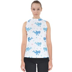 Seamless Pattern With Cute Sharks Hearts Mock Neck Shell Top