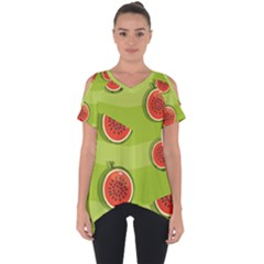 Seamless Background With Watermelon Slices Cut Out Side Drop Tee