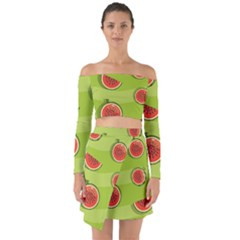 Seamless Background With Watermelon Slices Off Shoulder Top With Skirt Set