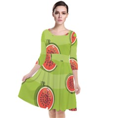 Seamless Background With Watermelon Slices Quarter Sleeve Waist Band Dress