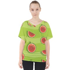 Seamless Background With Watermelon Slices V-neck Dolman Drape Top