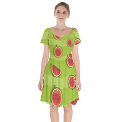 Seamless Background With Watermelon Slices Short Sleeve Bardot Dress