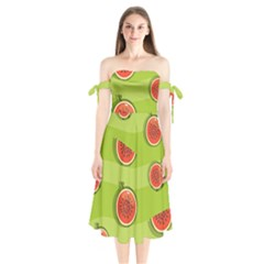 Seamless Background With Watermelon Slices Shoulder Tie Bardot Midi Dress