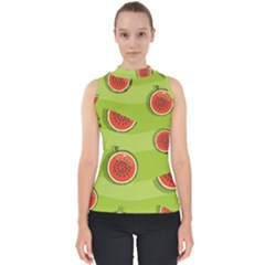 Seamless Background With Watermelon Slices Mock Neck Shell Top