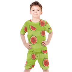Seamless Background With Watermelon Slices Kids  Tee And Shorts Set by BangZart