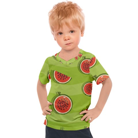 Seamless Background With Watermelon Slices Kids  Sports Tee by BangZart