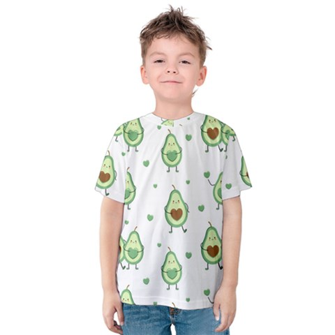 Cute Seamless Pattern With Avocado Lovers Kids  Cotton Tee by BangZart